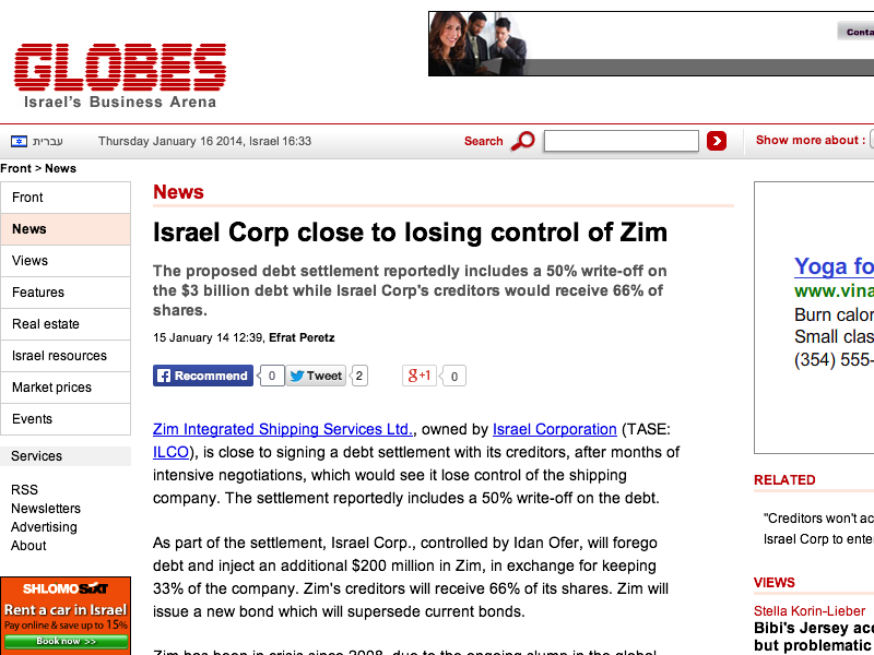 Zim Israel Shipping Lines Failure Gives Creditors Possession