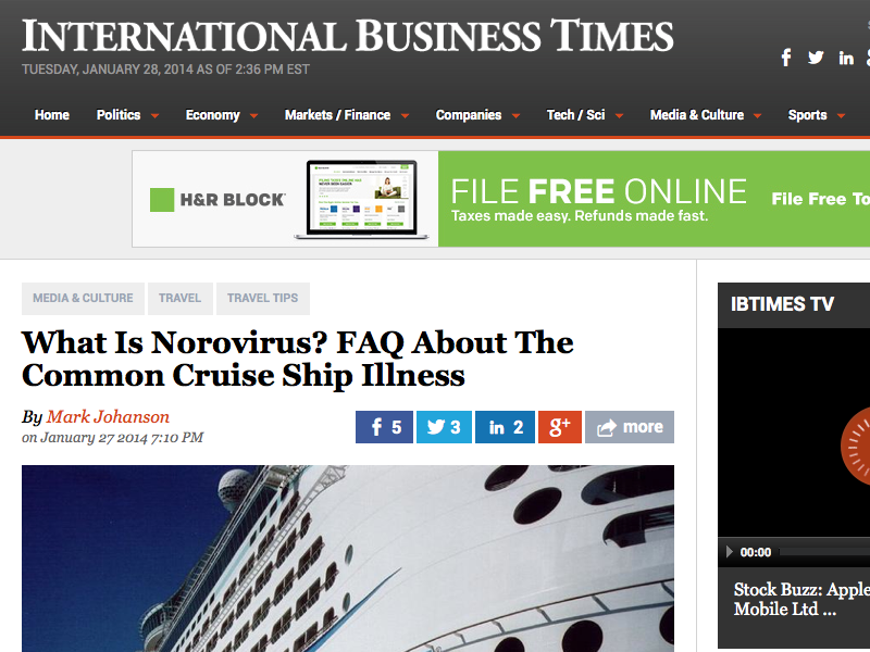 """☆ 'Fools' Who Choose To Cruise, November Through April, Can Be """"Rewarded"""" With Norovirus"""