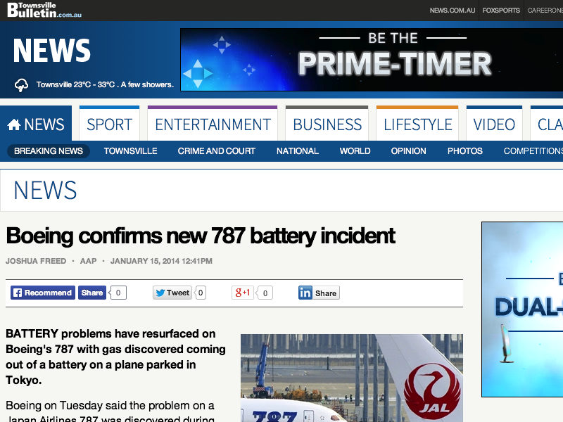 ☆ 787 Aircraft Lithium Ion Battery Problems Continue