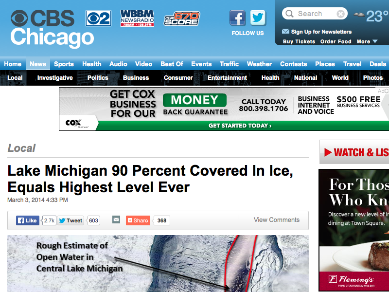 ☆ Global Warming?: America's Lake Michigan Is Covered With A Record Amount Of Ice