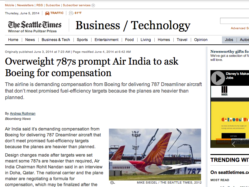"""Air India Learns: Composite Aircraft Advertised """"Lightweight"""" Is 'Stealthy'; """"Fuel Saving"""" Is 'Cloaked'"""