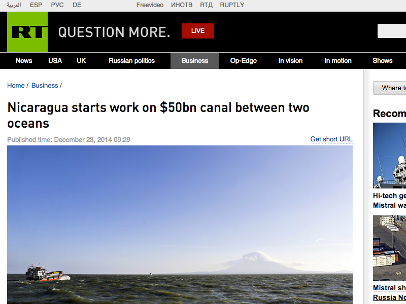 ★ Nicaragua Commences Cross-Country Canal Construction: Canal Shipping Rate Competition Will Ensue, As Well As Will Shipping Companies' Efficiencies To Help World Trade